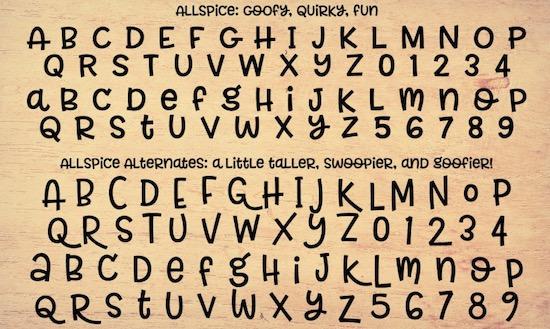 Allspice font download